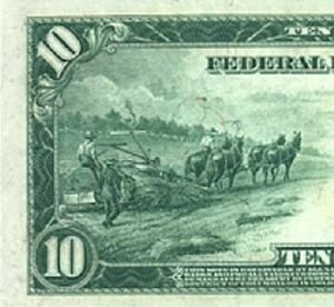 1914 Federal Reserve note showing hemp farming